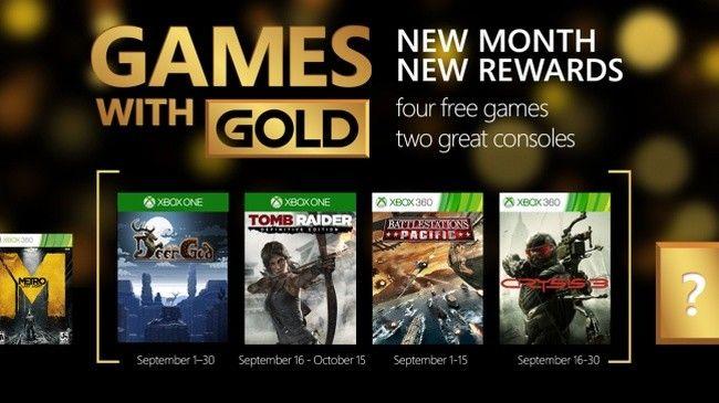 Tomb Raider: Definitive Edition y Crysis 3 entre lo mas destacado del Games with Gold de septiembre