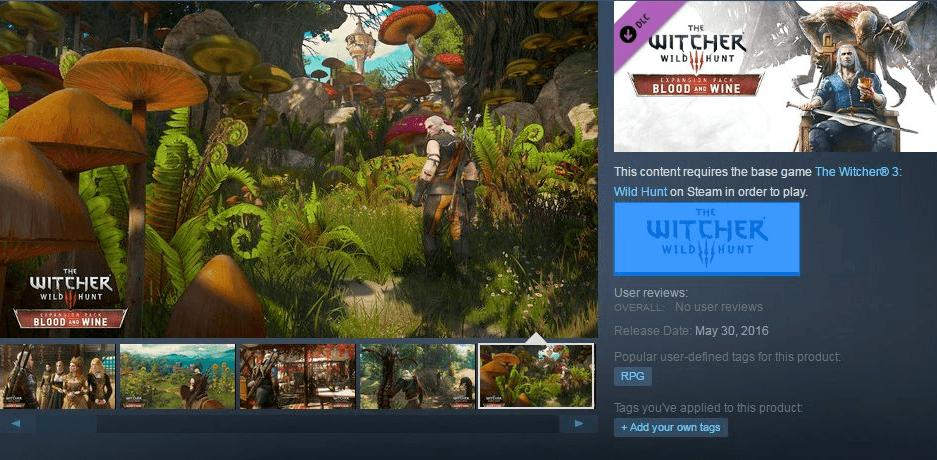 """Fecha de lanzamiento de la expansión o DLC de """"The Witcher 3: Wild Hunt"""" llamada """"Blood and Wine"""""""