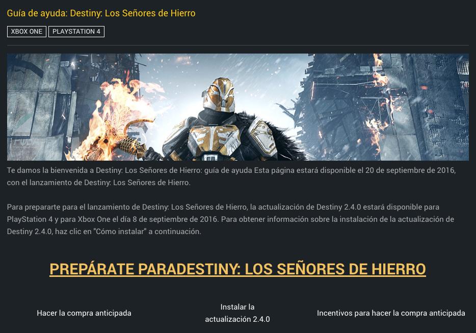 Guía de ayuda para Destiny y su nuevo DLC, Los Señores de Hierro